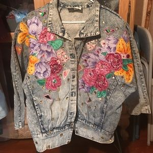 Jackets & Blazers - Hand Painted Floral on Denim Women's Jacket
